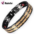 """Rainso Bracelet Men Healing Magnetic Stainless Steel Bracelets 8.5""""OSB-689 With Gold Plating Hand Chain Christmas Gift"""