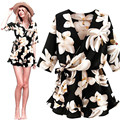 New Casual Mulheres Soltas Plus Size Chiffon Floral Preto V Neck Meia Manga Playsuit Clubwear Partido Bodycon Jumpsuit Romper