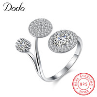 DODO Free Shipping 925 Sterling Silver Unique Lotus Round Rings For Women Jewelry Beautiful Finger Open