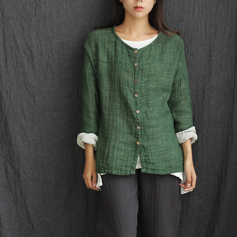 O neck Long sleeve Loose Casual Women Blouse Shirt Solid Green Spring Autumn Shirts Blouses Cotton Linen Button Cute Tops C033