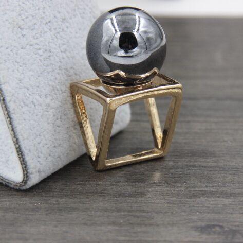 Новая мода Панк золотой сплав Площади Куба Большой искусственный черный Жемчуг Дизайнер палец кольцо для женщин bagues ансамбль bijoux anillos #2212