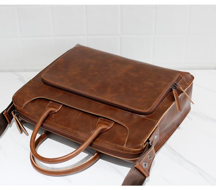 HTB1DFXloHsTMeJjSszgq6ycpFXam Brand Men's Briefcase Handbag Crazy Horse Pu Leather Messenger Travel Bag Business Men Tote Bags Man Casual Crossbody Briefcases