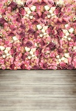 Laeacco Beautiful Flowers Wall Wooden Floor Wedding Photography Backgrounds Customized Photographic Backdrops For Photo Studio