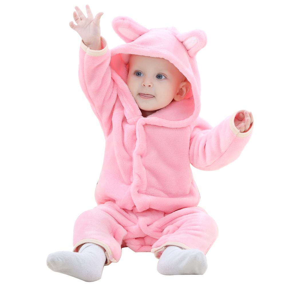 Baby rompers pink bear girls clothes bebes new born baby Cartoon pajamas warm winter animal Pajamas roupas de bebe recem nascido