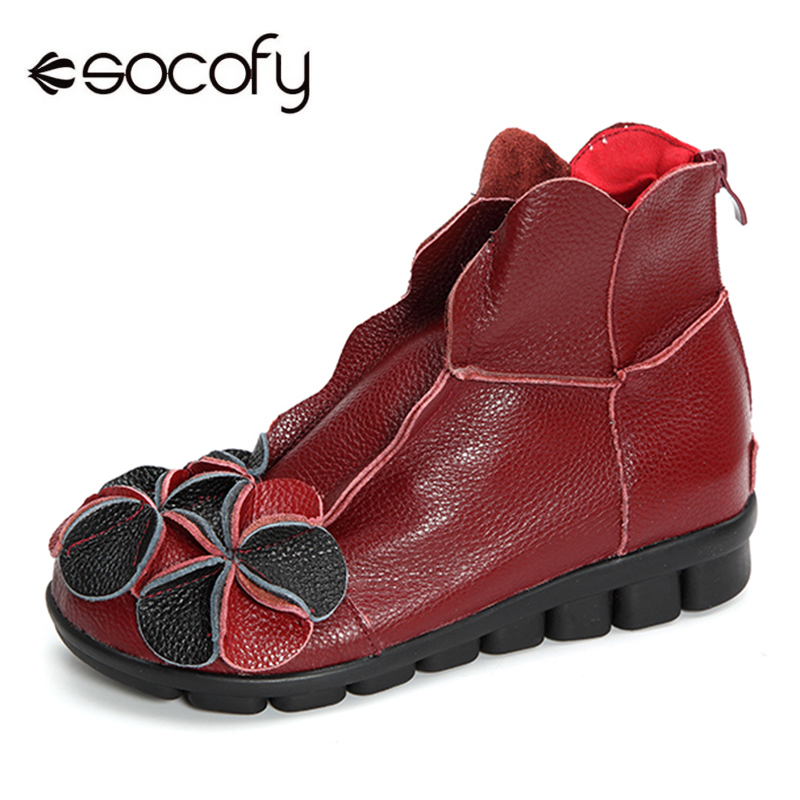 Socofy Vintage Genuine Leather Winter Boots Women Shoes Woman Zipper Wedge Casual Shoes Fur-lined Ankle Boots For Women BotasSocofy Vintage Genuine Leather Winter Boots Women Shoes Woman Zipper Wedge Casual Shoes Fur-lined Ankle Boots For Women Botas