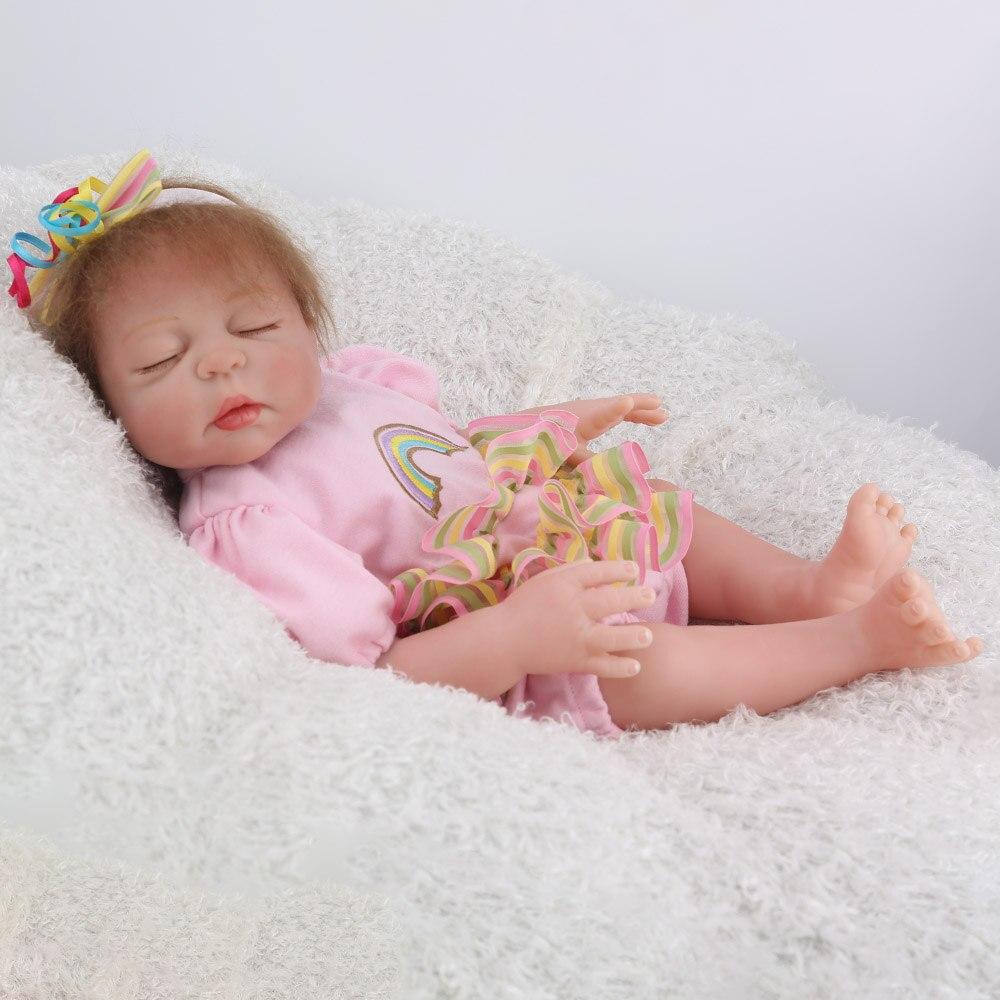 NPKDOLL 17 pouces 43 cm Silicone Reborn bébé poupées vivantes Bebes Reborn réaliste réaliste fille endormie cadeau d'anniversaire jouets - 5