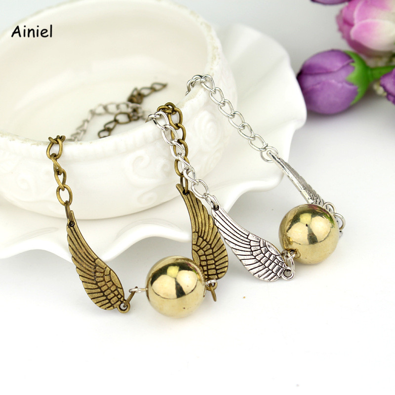 Vintage Style Metal Necklace Men Angel Wing Golden Snitch Pendant Small Gift Ornaments bracelet Halloween Party Adult Woman Kids
