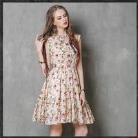 Women Summer Dress Cotton Floral Print Sleeveless Casual Dress Vintage Tank Dress Retro Dresses Vestidos