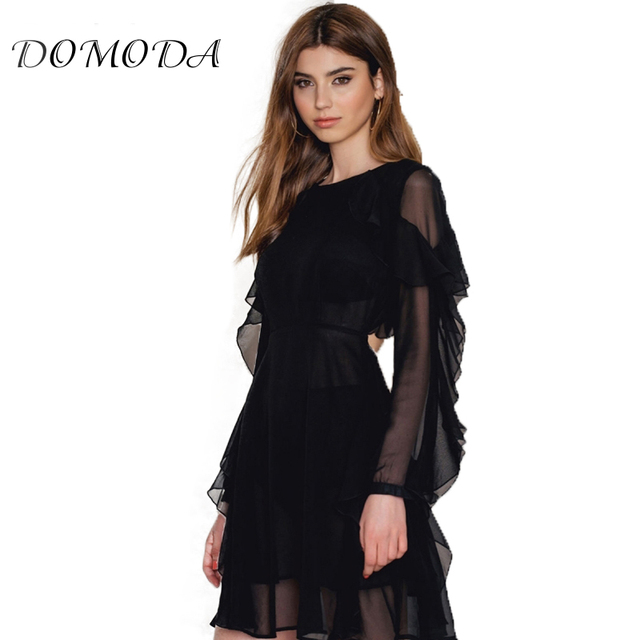 Domoda Black Dress Women Ruffles Backless Long Sleeve Semi Sheer