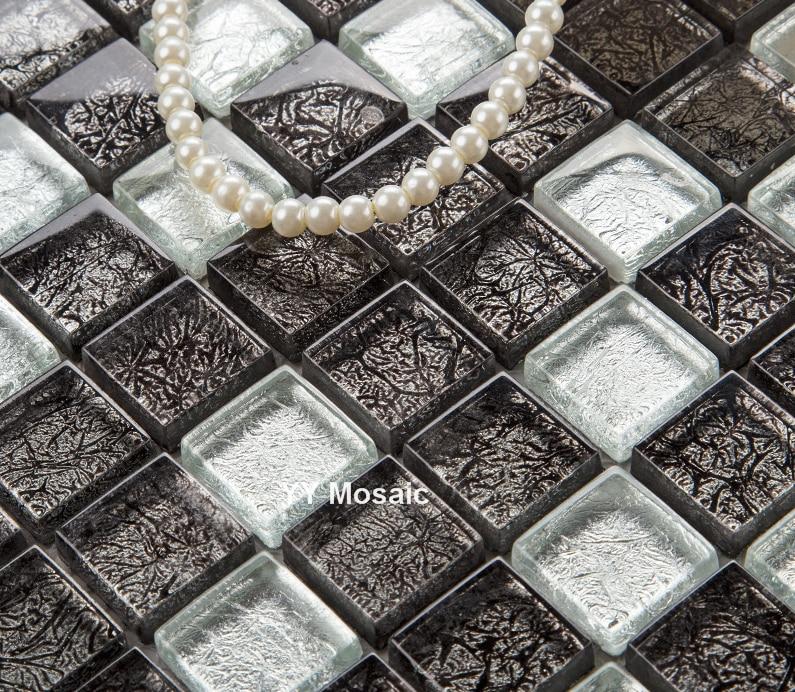 Kitchen Wall Tiles Colors: Black Silver Color Foil Glass Tiles Square Mosaic Kitchen