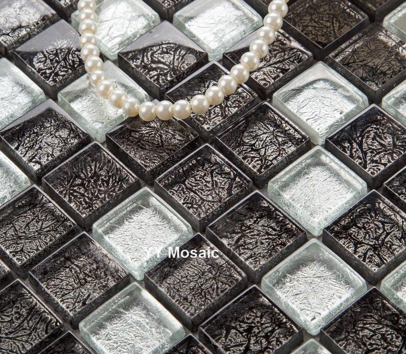 €192.61 |Noir argent couleur feuille de verre carreaux carrés mosaïque  cuisine dosseret salle de bain douche TV fond frontière mur carrelage  design YY ...