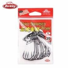 100% Original Berkley Brand Triple Sharpened Worm Hooks Fishing Hooks Smoke Satin Color Barbed Hook
