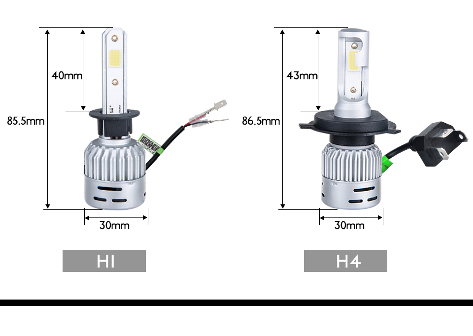 VooVoo 2PCS H4 H7 LED Car Light 72W 8000Lm 9005 9006 H11 4300K 3000K 8000K Car headlights 12V Car Near And Far Lamps Lighting (20)