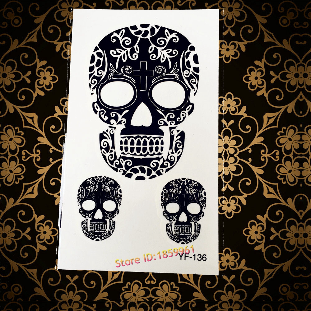 new henna lace old sexy skull head tattoo stickers ayf 136 cool men design body arm tattoo. Black Bedroom Furniture Sets. Home Design Ideas