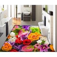 2016 Moda Tłoczone 3D Kolorowe Róże Podłoga Mural Naklejki Ścienne papieru Samoprzylepna PVC Łazience Wodoodporna Home Decoration #261
