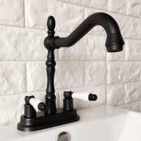 """Czarny olej przetarł 4 """"mosiądz Centerset kuchnia łazienka Vessel Sink dwa otwory umywalka obrotowy kran podwójny uchwyty wody z kranu ahg076"""
