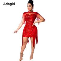 Sheer Mesh Fringe Mini Dress Sheath Bodycon Tassel Dress Woman Sequine Elegant Party Dresses Club Outfit Hollow Out Vestidos