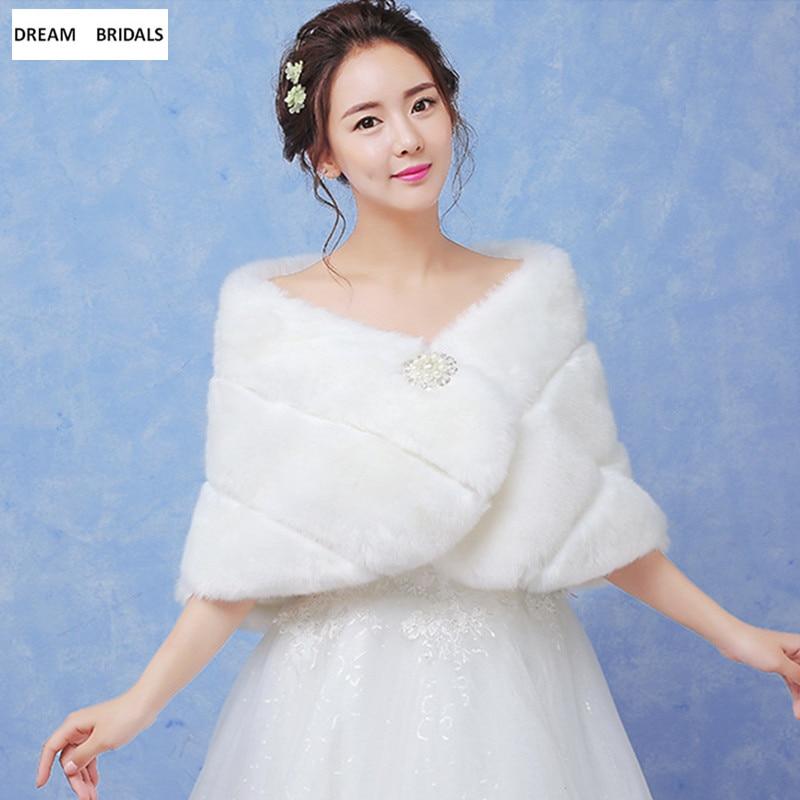 Wholesale Wedding Accessories Faux Fur Bolero Women Shawls Long Wedding Bridal Wraps Winter Warm Solid Shawls With Pearls