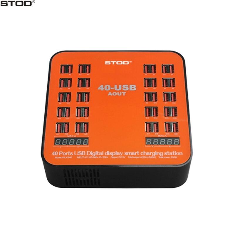 STOD 40 Ports USB chargeur 200 W 5V40A double affichage LED Station de charge intelligente pour iPhone iPad Samsung Huawei DV caméra adaptateur secteur