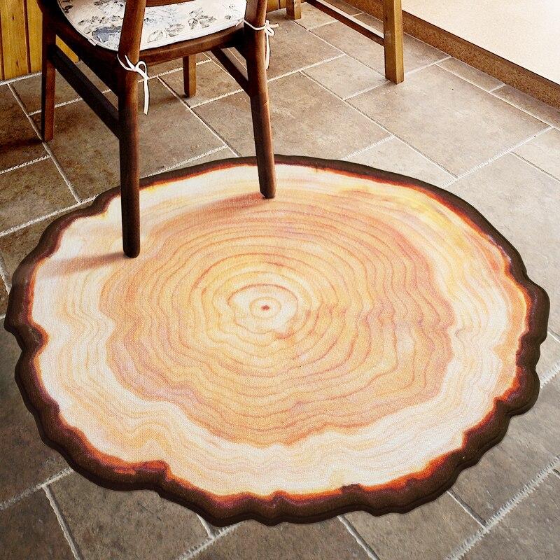 Tapis de maison rond vieux arbre anneaux tapis 150*150 cm tapis de salon rond Burlywood tapis de maison courts tapis de salon en peluche tapis antidérapants