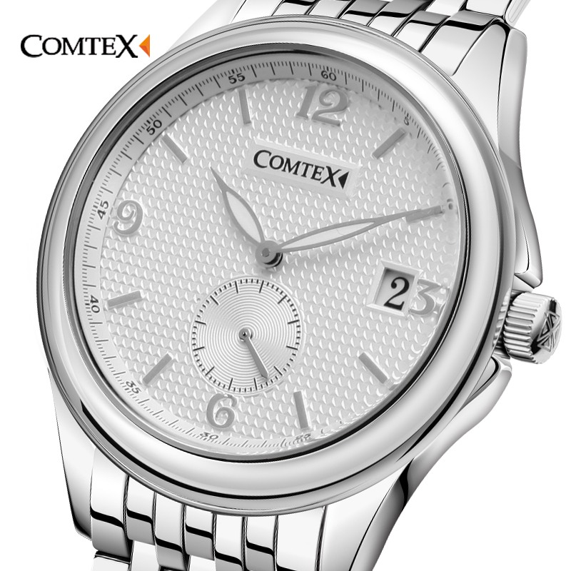 COMTEX Roman Number Business Men Watch Luxury Brand Waterproof Relogio Masculino Date With Luminous Pointer Quartz