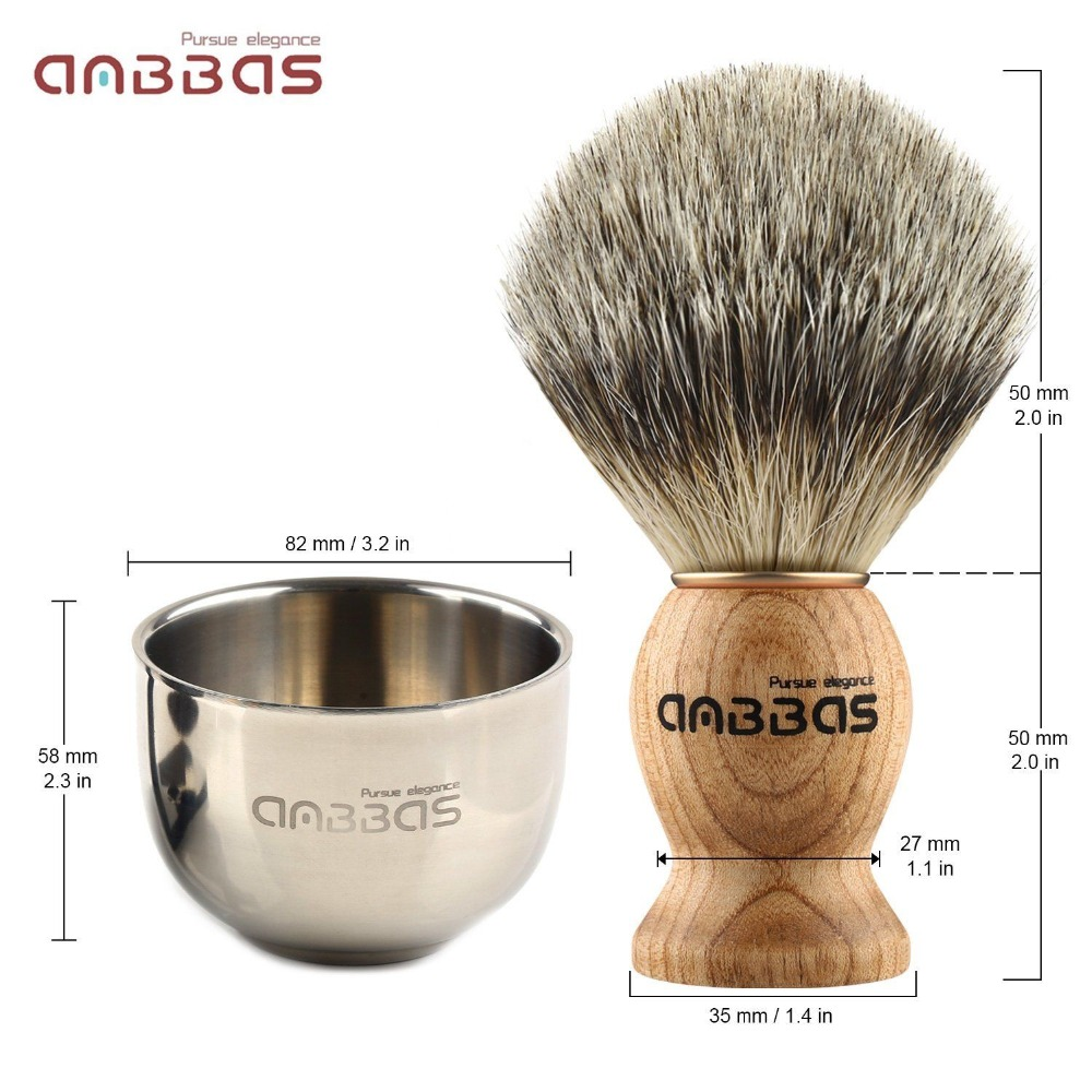 Anbbas 4in1 Men Shaving Brush Kit 100% Natural Badger Hair Brush Wood Handle Stainless Steel Holder Bowl Mug Soap Grooming Set 3