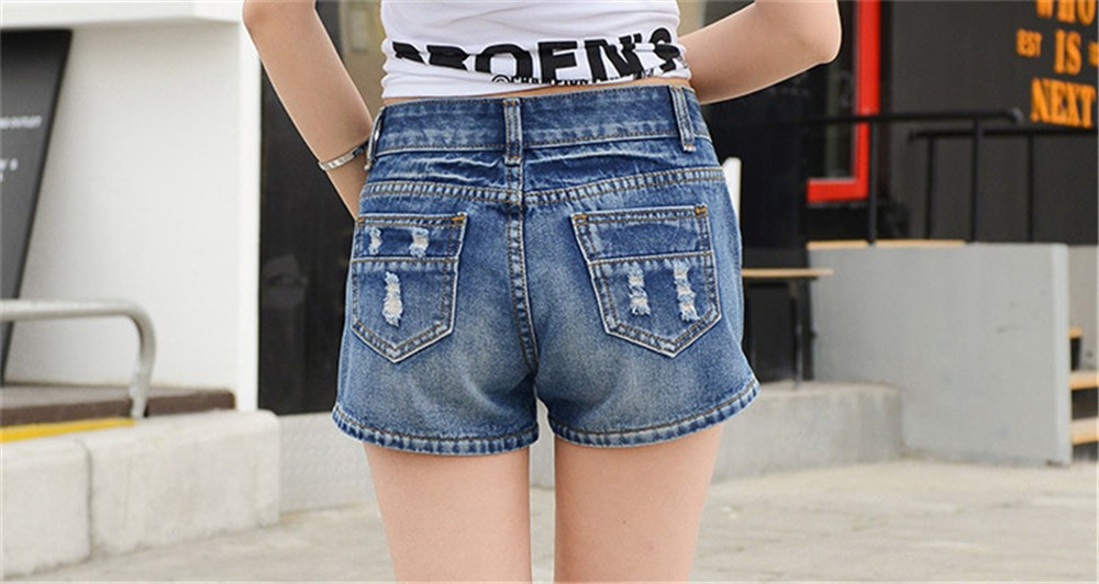 Mainland Retro Mid waist Women Short Jeans Woman Denim Female Wild Short-Pants Summer Loose Short Fashion Plus size Short jeans  (20)