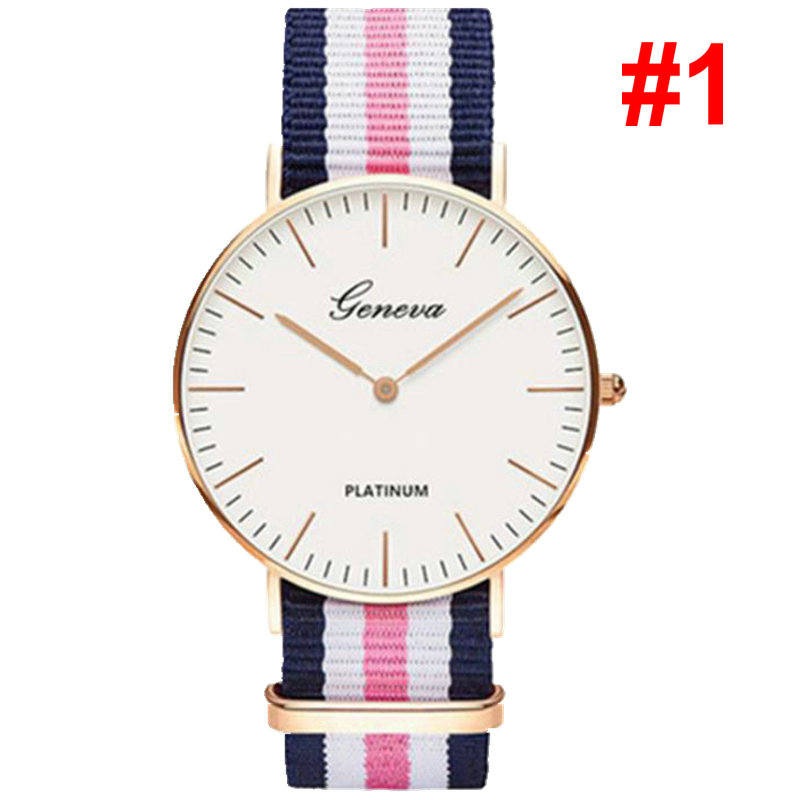 Fashion Men Women Unisex Geneva Platinum Nylon Fabric watch Sport thin wrist Canvas Quartz Dress wrist watches for men women