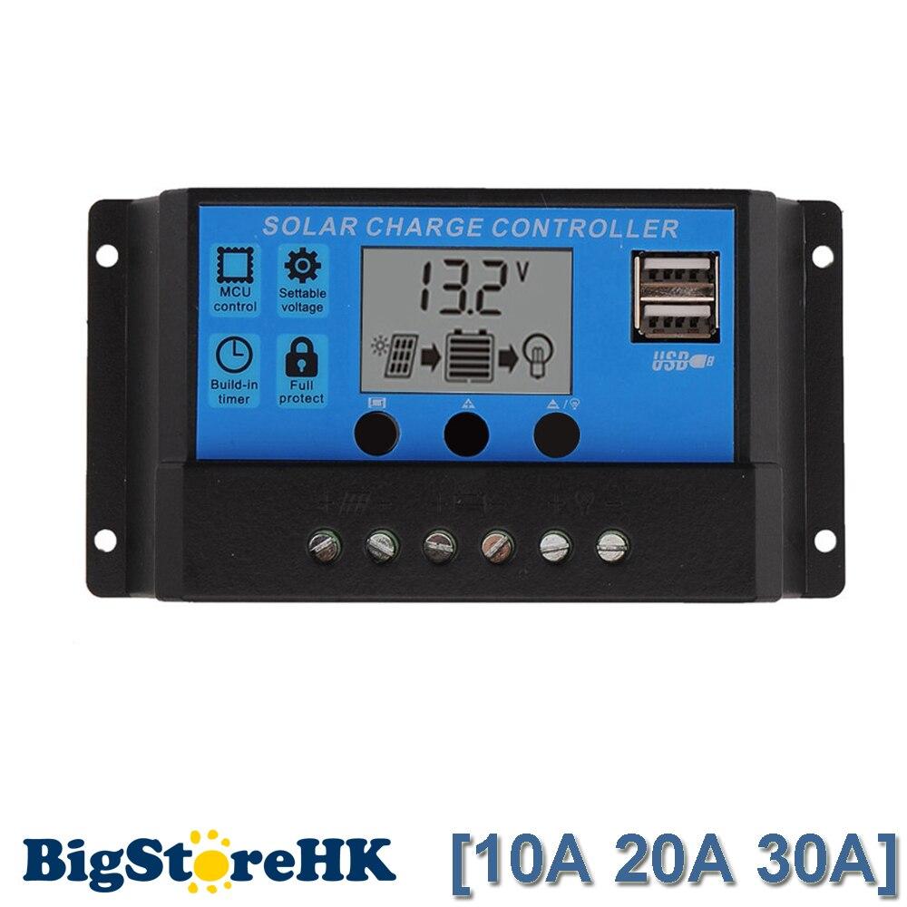 30A/20A/10A 12 V 24 V trabajo Auto PWM controlador de carga Solar con pantalla LCD Dual USB 5 V salida regulador del cargador del Panel Solar PV casa