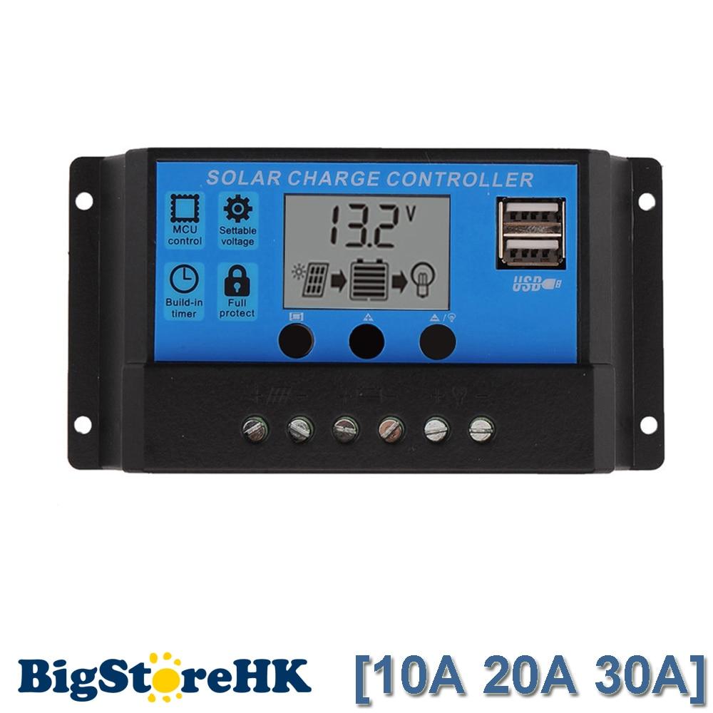 30A/20A/10A 12 v 24 v trabalho Auto PWM Controlador de Carga Solar com LCD Dual USB 5 v de Saída Regulador de Carregador da Célula Solar Painel PV Casa