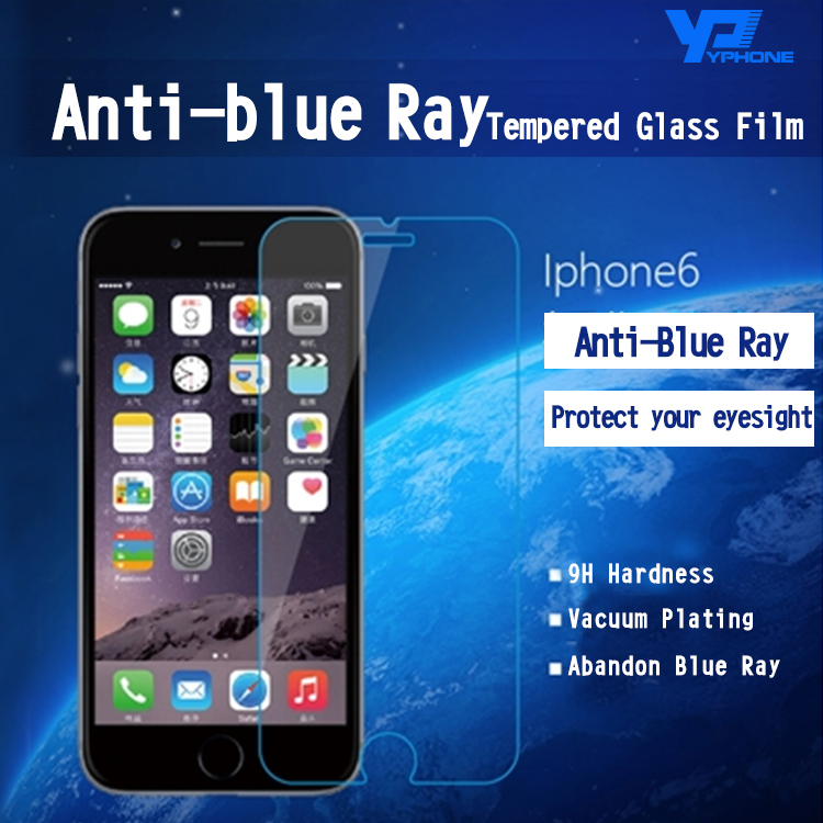 New 2.5D 9H Anti Blue Light <font><b>blu</b></font> <font><b>ray</b></font> Filtering eyes care Tempered Glass Screen Protector film for iphone 4 4s 5 5s c SE 6 6s plus