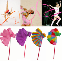 2M Colorful  Gym Ribbons Dance Ribbon Rhythmic Art Gymnastic Ballet Streamer Twirling Rod Stick For Training Professional T