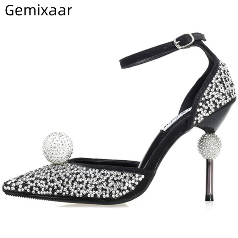 Crystal Ball Pumps Women Shoes Point Toe Narrow Buckle Zapatos High Stiletto Heel Studded Rhinestone Pumps Sapatos Feminino 41Crystal Ball Pumps Women Shoes Point Toe Narrow Buckle Zapatos High Stiletto Heel Studded Rhinestone Pumps Sapatos Feminino 41