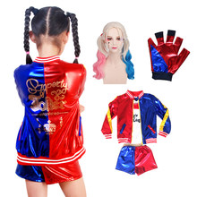 Harley Quinn Cosplay Costumes Kids Girls Cloth Suit Jacket Suit with Wig Carnival Halloween Party Cosplay Costume Children(China)