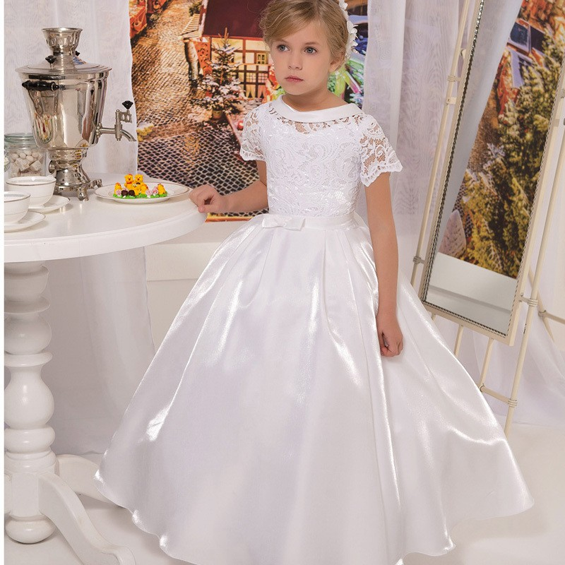 White Taffeta Short Sleeve Lace First Communion Dresses for Girls ...