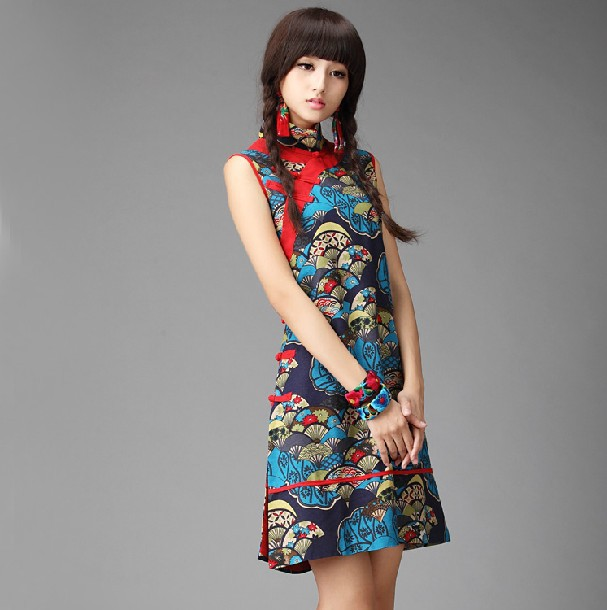 National 2014 trend women summer casual loose chinese style cheongsam fluid one-piece dress - iGem store