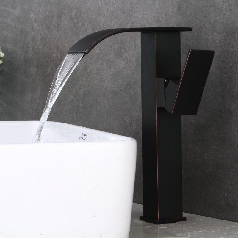 free shipping black antique brass waterfall basin faucet deck mounted hot and cold water bathroom faucet