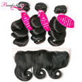 Brazilian Loose Wave Bundles With Frontal 3 Bundles Loose Wave Brazilian Hair With Frontal 7A Brazilian Virgin Hair With Closure
