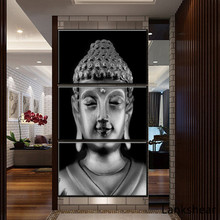 3 Piece Canvas Wall Art Posters And Print Modern Grey For Buddha Oil Painting On High Quality Picture Living Room Home Decor