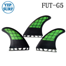 Free Shipping Surf Future G5 Fins Green with black in Surfing Carbon fibre Fin Quilhas