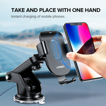 Ugreen Qi Car Wireless Charger for iPhone X XS 8 Samsung S9 Mobile Phone Charger Fast Wireless Charging Car Phone Holder Stand 1