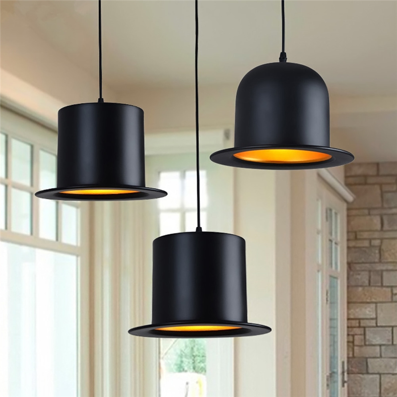 Gentleman hat pendant lights creative black hat living room restaurant bar clothing decorative lighting pendant lamps za FG445 bamboo cages pendant lights creative hand made living room dining room simple coffee shop clothing store decorative lamps za