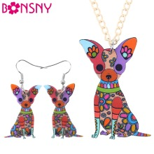 Bonsny Brand Jewelry Sets Acrylic Chihuahua Dog Necklace Earrings Choker Collar Fashion Jewelry 2016 News Spring Women Girl Gift