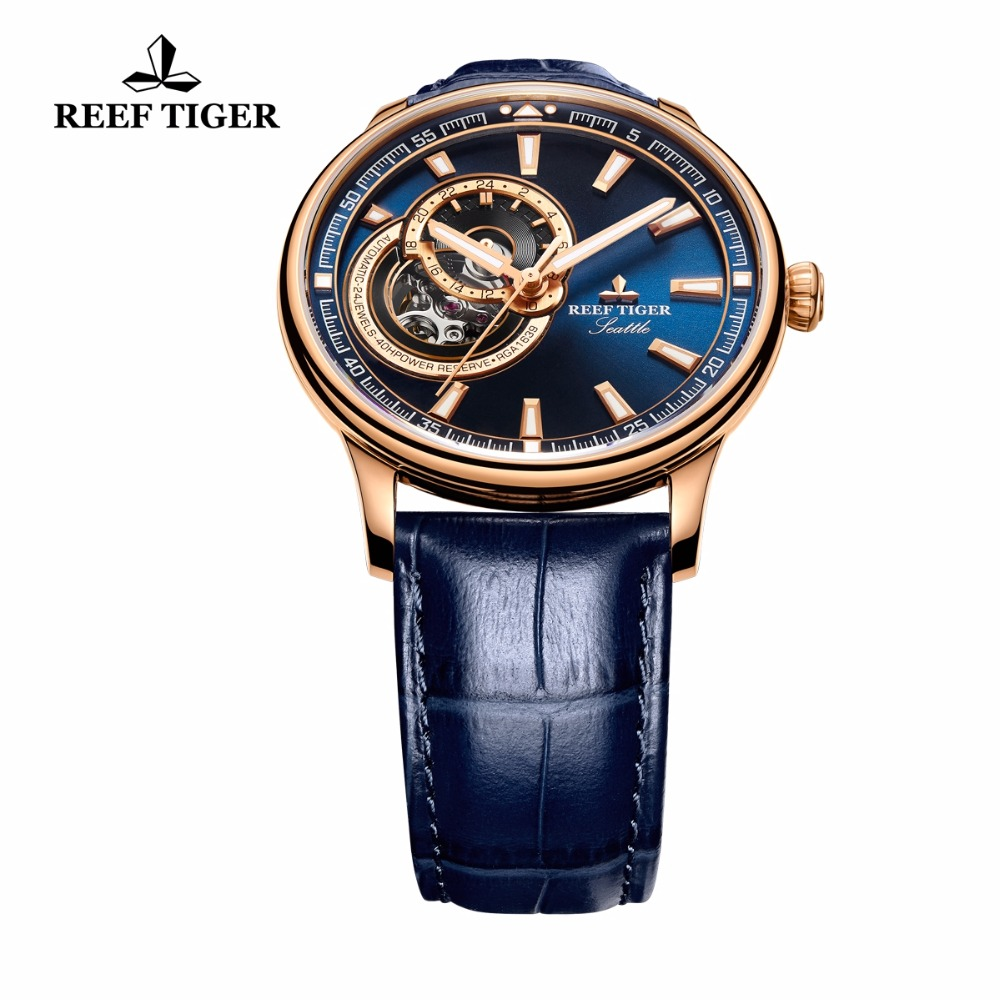 Reef Tiger / RT Dress Herenhorloge Rose Gold Tone Tourbillon Horloges - Herenhorloges - Foto 6
