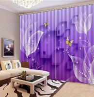 Wholesale Curtain Purple Dreamy Bright White Flowers 3D Floral Curtain Decoration Indoor Superior Blackout Curtains