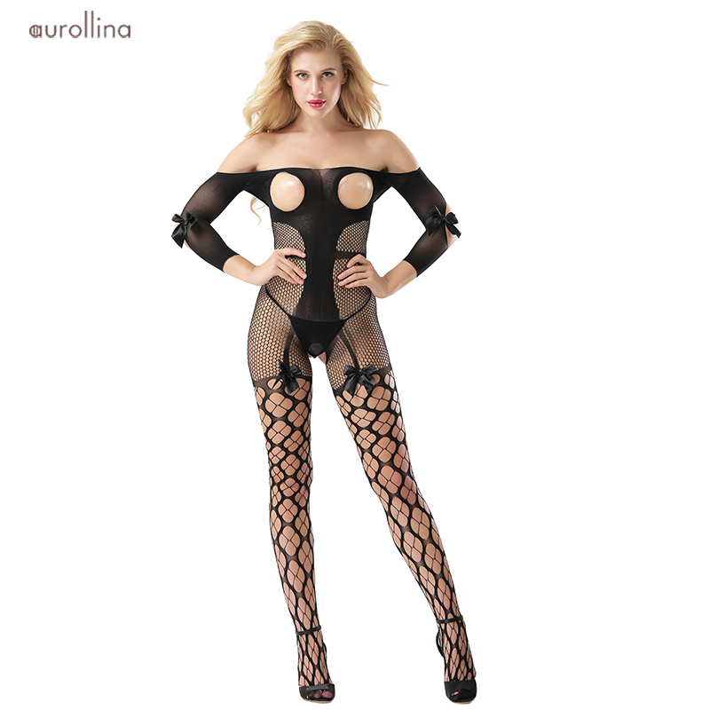 Open Crotch Bodystocking Mature Tights Lace Bow Fishnet Mesh Grid Net Stockings Lingerie Wild Sexy Baby