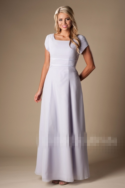 Simple Lilac Long Modest Bridesmaid Dresses With Cap Sleeves Cheap ...
