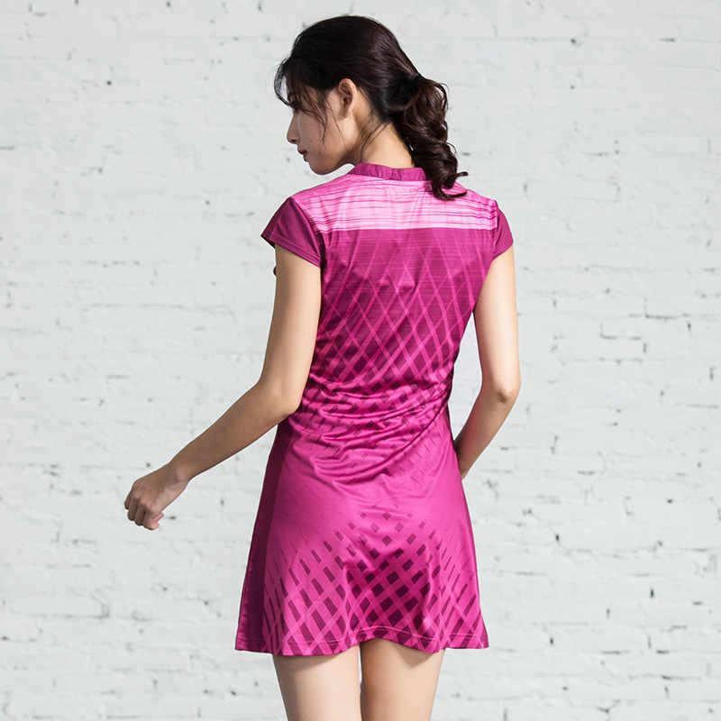 Женский новый летний спортивный костюм с v-образным вырезом платье для тенниса одежда для бадминтона Фитнес Бег Настольный теннис одежда с безопасными шортами