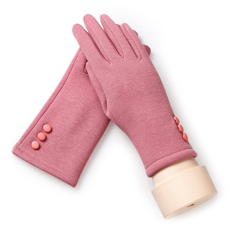 Lady fashion winter outdoor warm gloves lady gloves touch screen function gloves triple buckle solid