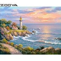 ZOOYA Diamond Embroidery 5D DIY Diamond Painting Cross Stitch Kits Lighthouse Landscape Rhinestone Painting Mosaic Picture